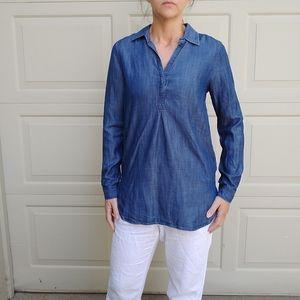 GAP tencel indigo chambray tunic top XS (G8)